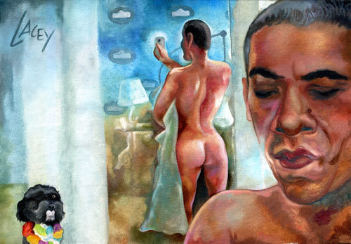 "tush:  ""A painting of Barack Obama Scarlettjohanssoning in the White House bathroom as Bo the dog looks on."" By Dan Lacey  Exuse me i would never draw this ever"