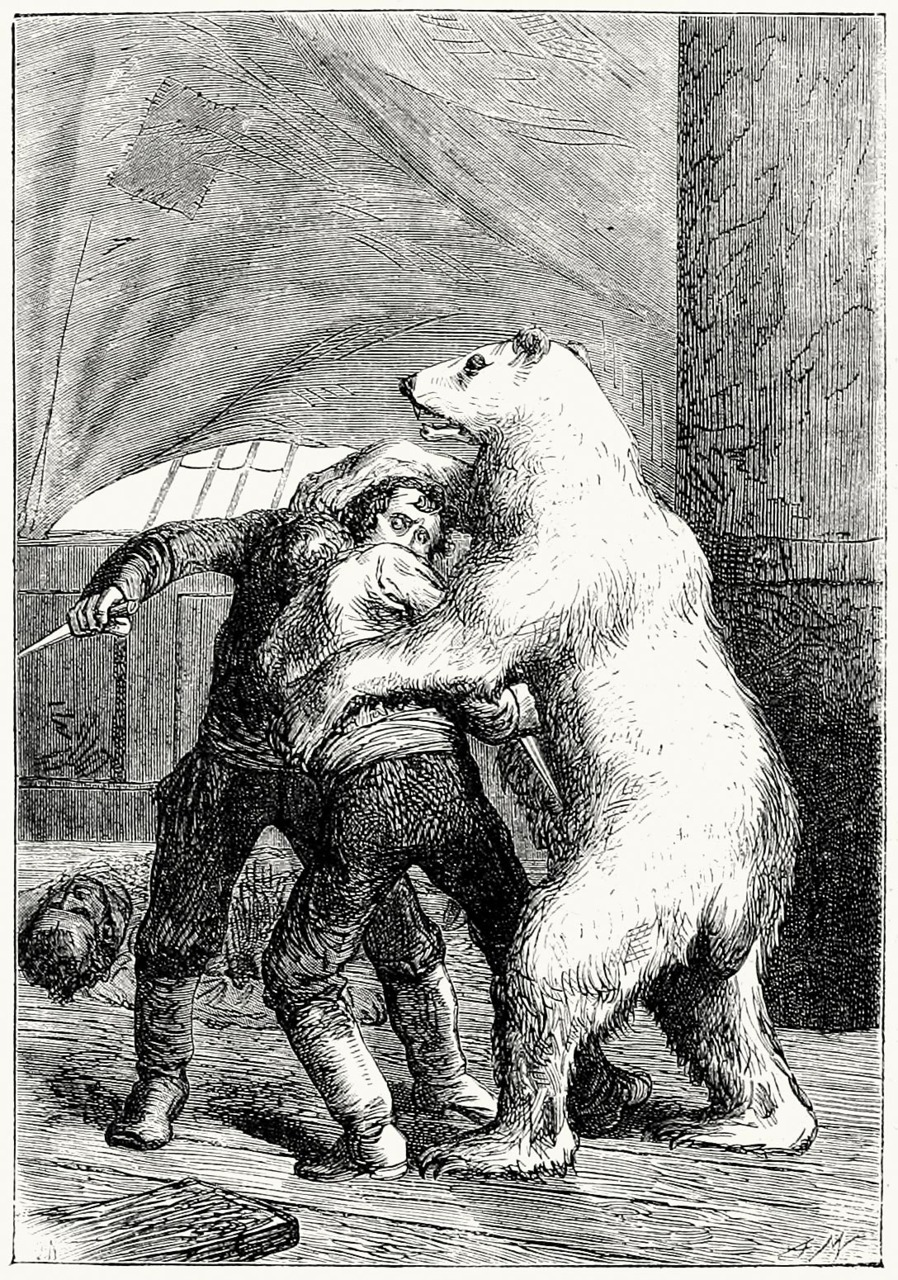 oldbookillustrations:  The bear, having descended from the mast, had fallen on the two men.  (A winter amid the ice) Adrien Marie, from Le docteur Ox (Doctor Ox), by Jules Verne, Paris, not dated. (Source archive.org.)