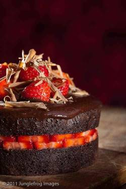 boyfriendreplacement:  Devil's food cake with strawberries Recipe