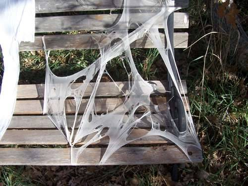 DIY Reusable Spider Webbing. From kcli at Instructables here. Made from snagged/unusable white panty hose. *Note: further instruction in the comments section - but this is beyond idiot proof.
