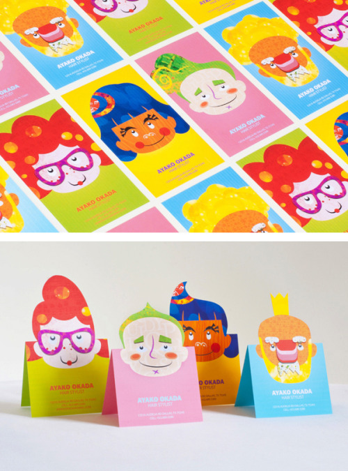 donroyco:  Business cards for hair stylist Ayako Okada, made by Silky Szeto. Great concept.