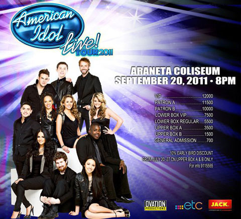 American Idol Season 10 Live Tour 2011 by Ovation Productions Concert Date: September 20 and 21 2011, 8pmConcert Venue: Smart Araneta Coliseum, Cubao, Quezon City Catch the last stop of American Idol Season top 11 finalists on American Idol live tour 2011 in Manila. This will be the first time that the American Idols Live tour top 11 finalists will be having a show in Asia.  Catch CaseyAbrams, Haley Reinhart, Jacob Lusk, James Durbin, Lauren Alaina, Naima Adedapo, Paul McDonald, Pia Toscano, Stefano Langone, Fil-American Thia Megia, and Season 10 winner Scotty McCreery.   ——-  Can't wait to see them!!