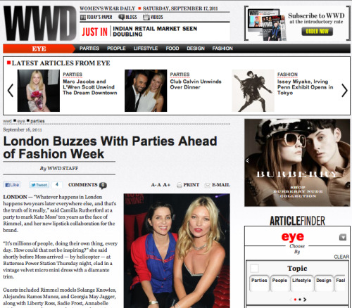 WWD, Kate Moss/Rimmel Party, 16/09/11