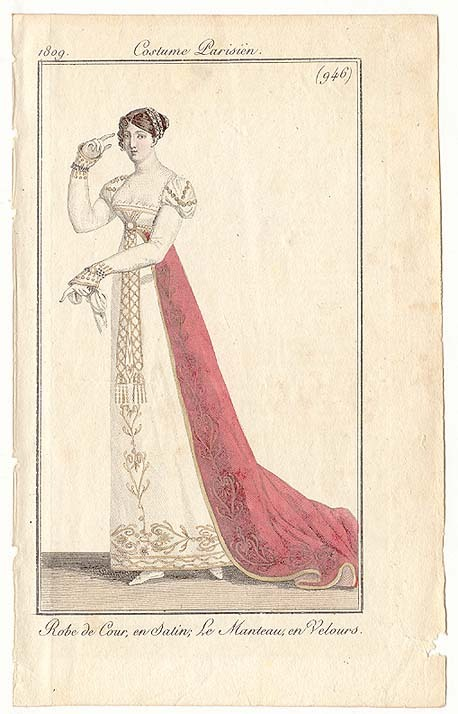Journal des Dames et des Modes, 1809.  A beautiful court gown!  It looks like something Empress Josephine would have worn.  I always picture her in red!