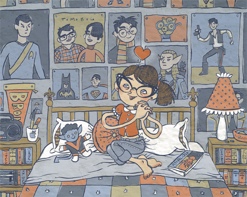 heyoscarwilde:  Happy Geeky Girl illustration by Alicia Policia :: via aliciapolicia.blogspot.com