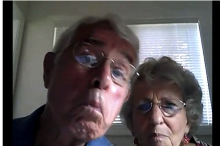 "wishididntknowthat:  Web Cam 101 - For SENIORS - Video (WIDK) Posted to WIDK by Emily Moore (HuffPo By David Lohr) — A couple from northwestern Oregon who are Internet newbies have found themselves the unwitting subjects of an instant viral video, thanks to a little help from a grandkid. Bruce Huffman, 86, and his wife, Esther, 79, of the Hillside Retirement Community in McMinnville, recently purchased their first laptop computer –- an aqua colored beauty with a built-in webcam. SEE VIDEO HERE  Late last month, the couple sat down together and tried to figure out how to make a video with the webcam, something a granddaughter had painstakingly attempted to teach Esther a few days beforehand. ""I was trying to figure out how to do the videos and didn't know the thing was actually running,"" Esther told The Huffington Post. ""All the while, Bruce was kind of amusing himself because he was bored. He was being quite an actor."" The nearly three minute video captures Bruce making funny faces, singing, burping and at one point, during a moment of levity, he got a little flirtatious with his wife. ""See how pretty your hair is?"" he said. ""Just drop your dress a little bit and see your boobies."" Esther, focused on the task at hand, shot down the request. ""Come on stop it. No, no, no,"" she laughed. When the couple's granddaughter later saw the video, she titled it ""Web Cam 101 for Seniors"" and uploaded it on YouTube. ""I did not know anything about YouTube, but apparently, it is spreading like wildfire,"" Esther said. While the accidental celebrities are surprised by the amount of attention the video is garnering, they said they are happy that people are enjoying it. ""We certainly didn't plan it, but there is so much bad news out there. We are glad we could put something fun out there. We like to have a good time and if it makes people laugh, that's ok,"" Esther said. There is, however, one thing she would change going back. ""I wouldn't have looked that way,"" she said. ""I guess I have to quit chewing gum. I look like a cow chewing gum so quickly."" While their candid video is endearing the modest couple to the World Wide Web, they have no immediate plans of making another video. ""We're still trying to figure out how to work it,"" Bruce said. ""But we're having fun trying."" Original Article  Sweetest couple ever :) This video is so cute!"