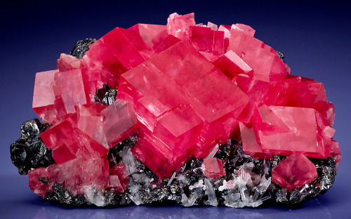 Rhodochrosite with Quartz on Tetrahedrite from Colorado