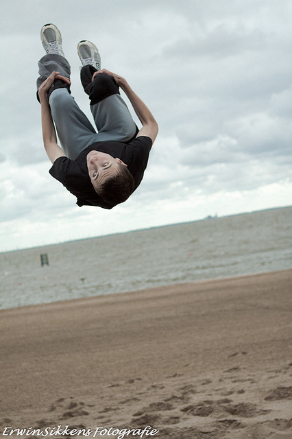 Backflip on the beach.