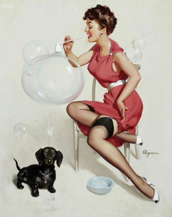 beautyisalightintheheart:  Blowing Bubbles by Gil Elvgren