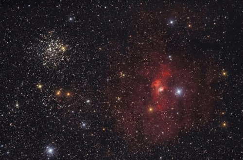 The Bubble and M52  To the eye, this cosmic composition nicely balances the Bubble Nebula at the lower right with open star cluster M52. The pair would be lopsided on other scales, though. Embedded in a complex of interstellar dust and gas and blown by the winds from a single, massive O-type star, the Bubble Nebula, also known as NGC 7635, is a mere 10 light-years wide. On the other hand, M52 is a rich open cluster of around a thousand stars. The cluster is about 25 light-years across. (More) [Image Credit & Copyright: Lóránd Fényes]