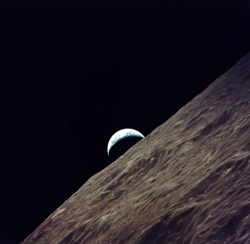 lookhigh:  Earthrise from lunar orbit, Apollo 17, December 1972 (NASA)
