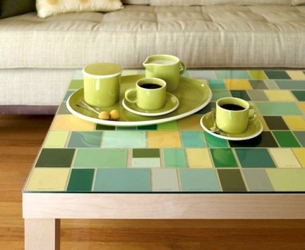 dannaklein:  Paint chip Table Topper - grab a glass-top table for cheap at a garage sale or your local IKEA. Remove the glass and top the table with various squares and rectangles of your preferred color palette. Carefully add the glass topper back on and enjoy an instantly revamped, colorful creation!