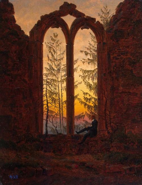 kashtan:  heureexquise:  The Dreamer - Caspar David Friedrich Fuck you, I'm a german romantic.  I'm in Friedrich mood today. Week ago when I was at west of Russia and went by bus through villages there were many abandoned houses, two or three old abandoned estates and one factory of 1830th. There must be treasure inside.