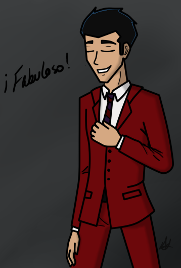 rexfangirl:  First off, suits are sexy. I just had to draw this after seeing the promo! :D I think I'm just gonna draw GR guys in suits now…so this is one of many.  ¿Por qué eres tan bueno es lo haces, Rex? Ser superheroe, digo. A eso me refiero. *guiño*