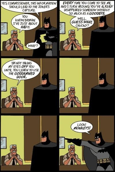 irageimrah:  I always wanted commissioner Gordon to call Batman out on that! Lol.