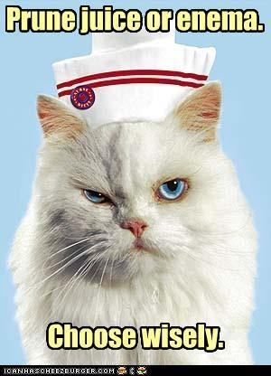charlotte-student-nurse:  Nurse kitty is very wise :) and cute !  Haha love it! Personally I'd go for prune juice, or fruit lax, or lactulose.. Anything but going through the other way!