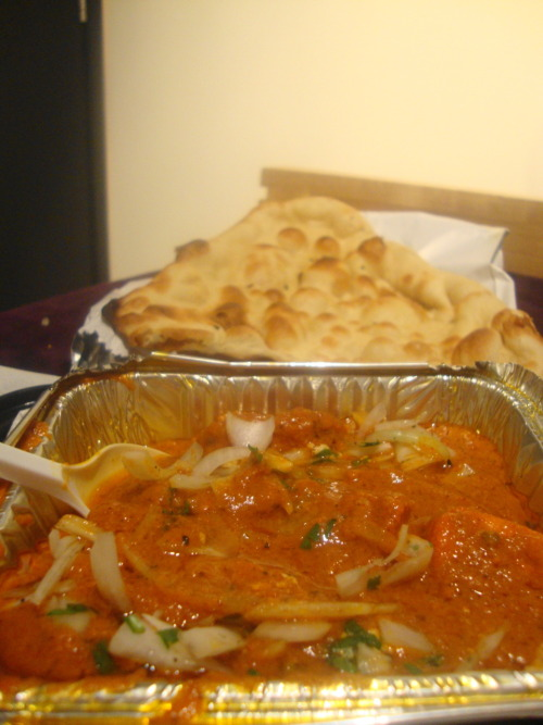 First meal in London Takeaway from the Ganges Indian Restaurant: Chicken Tikka Masala!