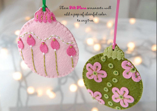 DIY Flora Ornaments. Free PDF Download from the book  Fa La La La Felt at Stumbles & Stitches here. Created by Laura Howard of Bugs and Fishes.