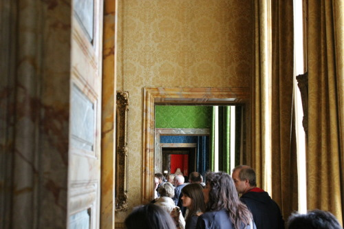 Colourful rooms at the Chateau Versailles (Versailles, France).