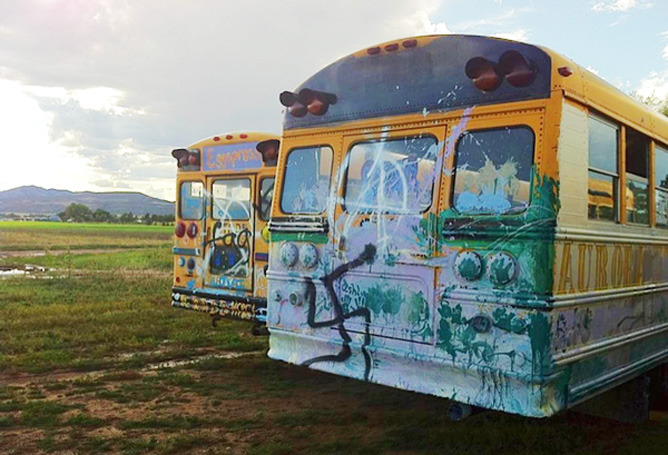 Vandals spray swastikas on buses at Grant Family Farms in Wellington Mobile chicken coops on the Grant Family Farm in Wellington were vandalized with messages of hate last week. Swastikas and anti-gay messages were scrawled on the sides of three buses the farm uses as mobile chicken coops. Sometime between Sept. 7 at 9 p.m. and Sept. 11 at 11 a.m. vandals entered the farm passing clearly marked private land and defaced the buses, said Angela Simon, chef for Grant Family Farms and representative of Boulder Community Supported Agriculture. (Read more)