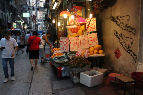 Fruit stall + graffiti in Sheung Wan