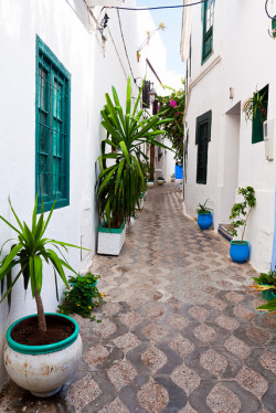 fromasereneperspective:  solita-jade:  Narrow Street in the Medina by Beum เบิ้ม on Flickr.  Asilah, Morocco