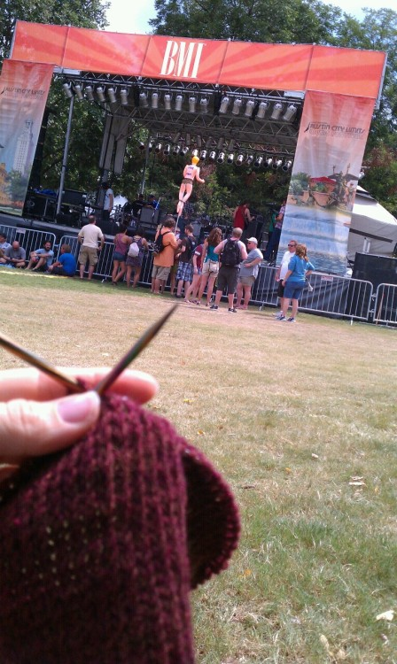 Knitting at Austin City Limits Music Festival becomes necessary when the baby it's intended for is born on schedule but sooner than you expect…