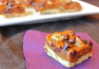 PUMPKIN SHORTBREAD SQUARES  Recipe link below photo