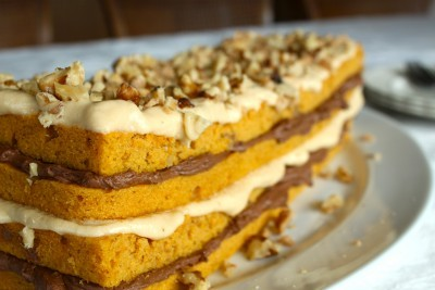 Layered Pumpkin Walnut Cake with Caramel & Chocolate Frostings.Doesn't this look delicious?  Recipe link below photo