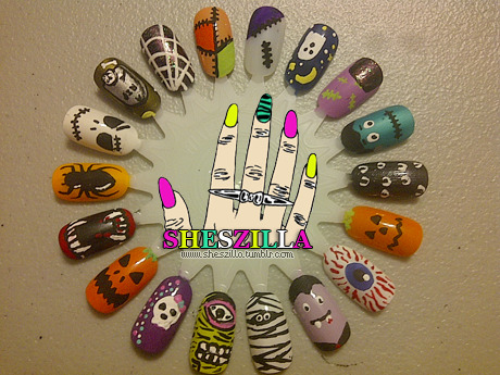 nailsbyveryemily:  likebibletimes:  I am going to have to do ALL of these in the weeks leading up to Halloween. They are so perfect! I especially love the Zombie eye because it reminds me of those Iron Fist pumps.  Love these Halloween nails!