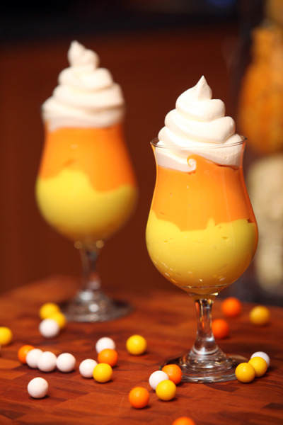 Candy Corn PuddingFast, Easy and Fun!!  Recipe link below photo