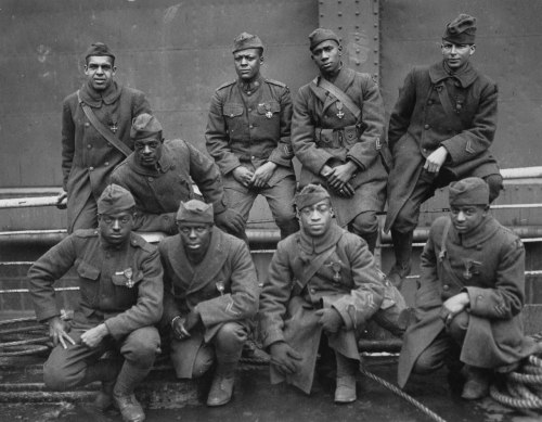 missfolly:  Unknown photographer: Some of the African-Americans of the 369th (15th N.Y.) who won the Croix de Guerre for gallantry in action during World War One (1919)  Left to right. Front row: Pvt. Ed Williams, Herbert Taylor, Pvt. Leon Fraitor, Pvt. Ralph Hawkins. Back Row: Sgt. H. D. Prinas, Sgt. Dan Strorms, Pvt. Joe Williams, Pvt. Alfred Hanley, and Cpl. T. W. Taylor  Note: It is reported that the only soldiers the German troops were afraid of during the First World War were the black soldiers. Miss Folly