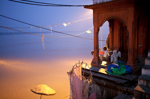 Evening at Ganga river. Varanasi, India