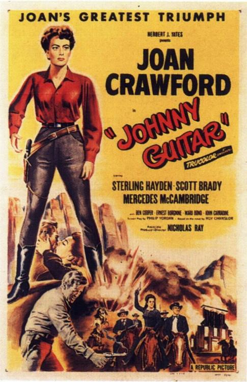 rossbirks:   #324 Johnny Guitar (1954) Dir. Nicholas Ray  Third Nicholas Ray film I've seen. He uses colour in such amazing ways.   adore this movie..i saw it lastnight..joan crawford is real badass in this movie..hehe
