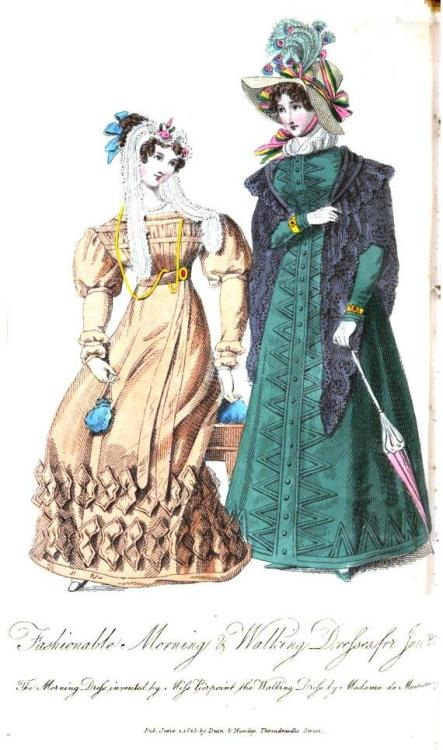 Lady's Museum, Morning and Walking dresses, June 1825.  Wow!  Look at all those accessories!