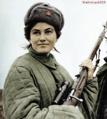 fuckyeahhistorycrushes:  Lyudmila Pavlichenko, Soviet sniper during WWII.  A student at the time, Pavlichenko was among the first to volunteer for the armed forced when the Soviet Union was invaded and declined the opportunity to serve as a nurse instead of a soldier so as to put her badass shooting talents to good use.  She went on to record 309 kills, making her the most successful female sniper in history.  After she was wounded in battle, Pavlichenko traveled to the United States where female reporters told her her uniform made her look fat, because they could not comprehend her magnitude of awesome.  She went on to train other snipers to be as hardcore as her, and eventually became a historian.  I am in love