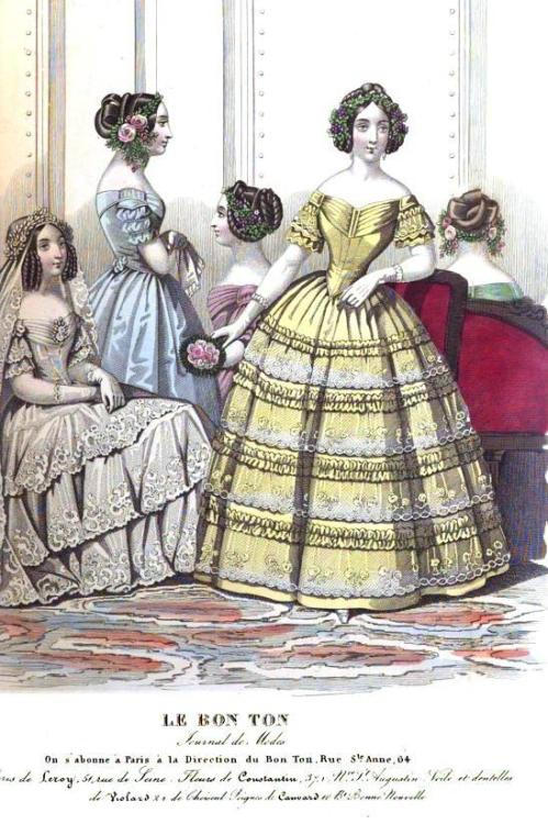 Lady's Magazine, 1845.  Look at all those wacky hairstyles! (This is another one of those frustrating cross-plates, by the way.  Le Bon Ton was a French fashion publication, but it was apparently re-printed from the Lady's Magazine.  I pulled this scan out of the publication, so I know it isn't mis-labeled!)