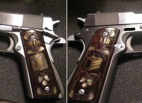 Custom Portal pistol grips let GlaDOS know you mean business Calguns forum user mossy loves the Portal video game franchise, so he had these custom grips made for his 1911 handguns. They're made of walnut wood, mother of pearl, brass, and silver. Via