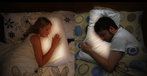 chicken-pig-whatsthedifference:  Pillow Talk is a project aiming to connect long distance lovers. Each person has a ring sensor they wear to bed at night, and a flat fabric panel which slots inside their pillowcase. The ring wirelessly communicates with the other person's pillow; when one person goes to bed, their lover's pillow begins to glow softly to indicate their presence. Placing your head on the pillow allows you to hear the real-time heartbeat of your loved one. The result is an intimate interaction between two lovers, regardless of the distance between them. Go here http://www.littleriot.co.uk/ for their website and to join the mailing list Go here http://www.smarta.com/smarta100/2011-winners/little-riot to vote for them and leave a comment to potentially be apart of the beta testing.