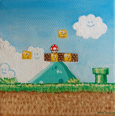 it8bit:  Super Mario - by Annie Wong Website | Etsy (via koldunkisloty)