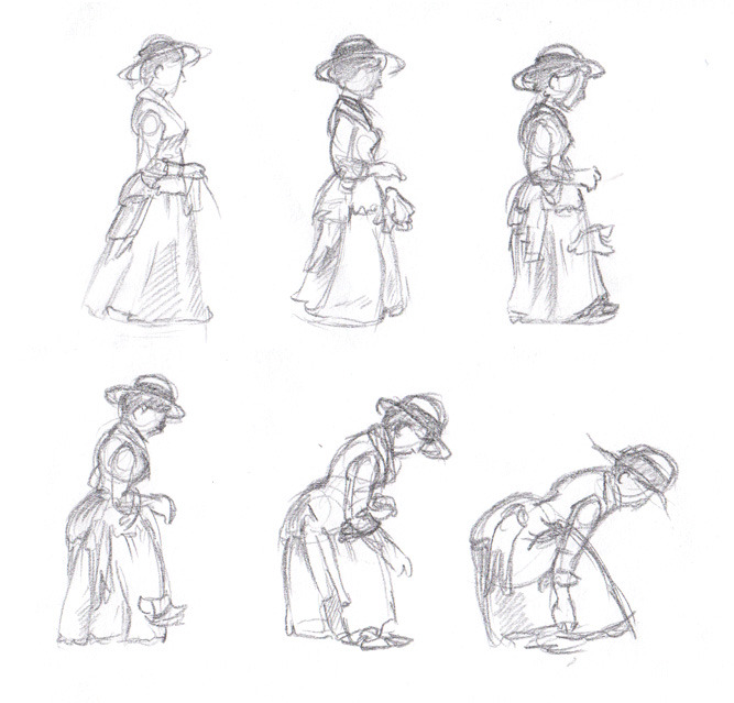 A Muybridge drawing of a girl dropping a handkerchief and picking it back up.Not up to your usual quality today, Chip. >:\ —Chiparoo