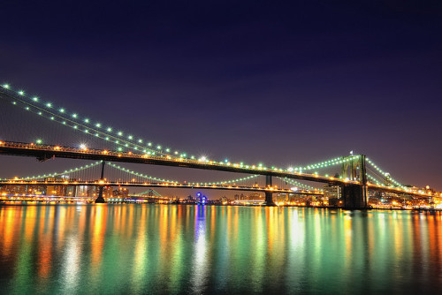 BMW Blue Hour, Brooklyn, Manhattan, and Williamsburg Bridges, NYC by andrew c mace on Flickr.