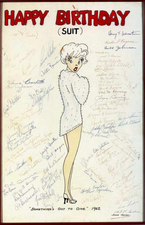allieiswhoiam:  elleryqueen:  marilyn monroe's bday card while filming something's got to give!  her last year alive, her last birthday </3  Happy Birthday Marilyn Monroe!
