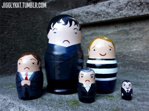 "jigglykat:  Sherlock nesting dolls! I had an extra set and thought ""WHAT THE HELL"". I love this show so so much and can't wait for the new series to begin! From biggest to smallest: Sherlock Holmes, John Watson, Mycroft Holmes, DI Lestrade, the Littlest Moriarty. And in case you needed a size comparison… Moriarty is about the size of my fingernail."