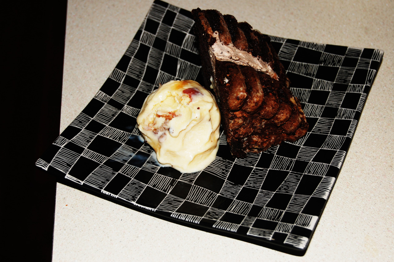 "Chocolate Coffee Cake with ""All of the Bacon & Eggs"" Ice Cream"