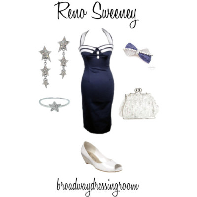 Reno Sweeney by broadwaydressingroom featuring star earringsSailor dress, €50J Renee peep toe wedge, $49Star by Julien Macdonald sequin handbag, £32Muriel Feidt white gold diamond ring, £437Star by Julien Macdonald star earrings, £8Cuteberry crystal hair accessory, $50