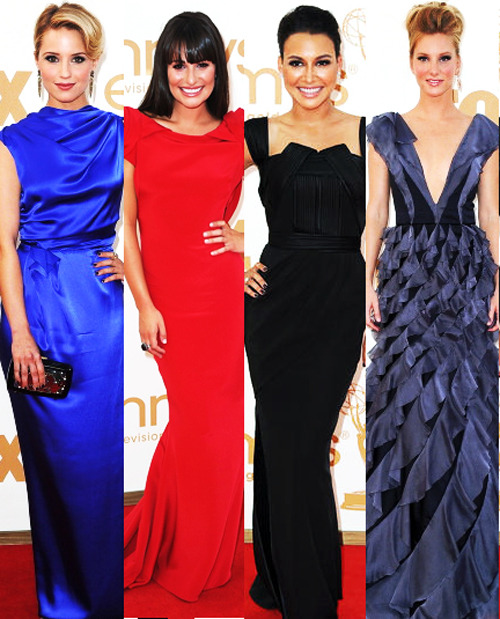 Dianna Agron, Lea Michele, Naya Rivera and Heather Morris - Emmy Awards 2011