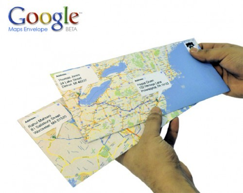 wellappointeddesk:  Use Google maps to create a personalized envelope. Read the comments for details on how to orient the map in order to get this to work even if your letter is traveling from east to west or south to north. (via Craziest Gadgets)
