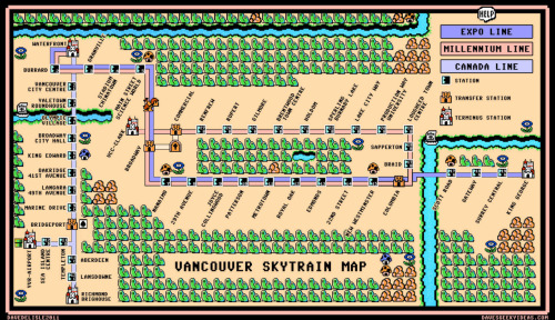 Super Mario Bros 3 Skytrain Map of Vancouver