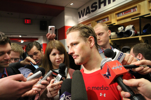 Washington Capitals forward Matt Hendricks in the post-game media scrum, in the Caps' home locker room at Verizon Center (2010-2011 season).